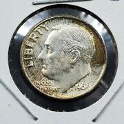 1964 P Roosevelt Silver Dime Uncirculated Neat Toning Toner