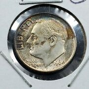 1964 P Roosevelt Silver Dime Au / Unc Uncirculated Very Nice Toning Toner Obv