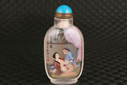 Chinese Natural Crystal Collectable Inside Painting Girl Snuff Bottle Gift