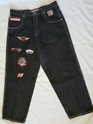Fnf Jeans Baggy Men Black Denim 777 Rally Embroidered Racing Patches 36 Vintage