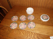 Set Of 6 Floral Drink Cup Coasters W/ Holder Base Floral Protects Furniture