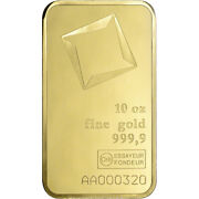 10 Oz. Gold Bar - Valcambi Suisse - 999.9 Fine Sealed With Assay Certificate