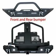 Textured Black Front And Rear Bumper W/oil Drum Rack Fit 87-06 Jeep Wrangler Tj/yj