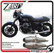 Zard Pair Of Exhaust Polished Steel Silencer Racing Guzzi V7 Classic/stone 2011