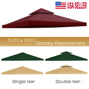 10and039x10and039 Waterproof Gazebo 1 2tier Top Replacement Canopy Uv Sunshade Patio Cover