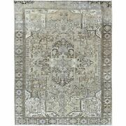 9and0398x12and0393 Brown Semi Antique Farsian Heris Stone Wash Hand Knotted Rug R60139