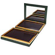 Green Faux Leather Double Sided Empty Magnetic Palette With Mirror Holds 70 Sta