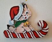 Cat In Santa Claus Hat On Candy Cane Glitter Wood Christmas Ornament Vtg Img