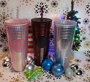 Starbucks 2020 Holiday Pink Sliver Berry Plum Grid Disco Cold Cup Lot Of 3