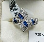 Womens 925 Sterling Silver Wedding Engagement Blue Flair Cut Ring Faceted Cc