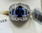 Womens 925 Sterling Silver Wedding Engagement Blue Opal Cut Shaped Ring Faceted