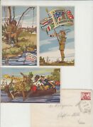 Stamp Australia 1948 Scout Jamboree Yarra Brae Cover And Set Of 3 Postcards Scarce