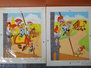 Original Rare 1983 2 Pcs Hand Painted Published Woody Woodpecker Puzzle Artwork