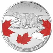 🇨🇦 Rare Canada Fine Silver Coloured 25 Dollars Polar Bear / True North 2016