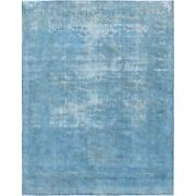 9and0396x12and039 Blue Overdyed Clean Worn Down Old Farsian Karman Handknotted Rug R60306