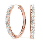 Christmas 1.55ct Natural Round Diamond 14k Solid Rose Gold Hoops Earrings