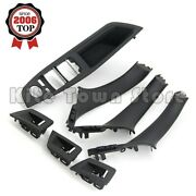 Black Inner Door Panel Handle Pull Trim Cover For 10-16 Bmw 5 Series F10 F11