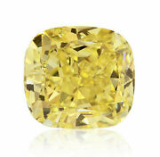0.53 Carat Fancy Yellow Diamond Gia Certified Natural Color Loose Cushion
