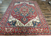 10and039x14and039 New Rust Navy Hand Knotted Wool Super Serapi Herizz Oriental Tribal Rug
