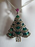 Solid Silver And Enamel Real Ruby And Maracasite Set Christmas Tree Necklace