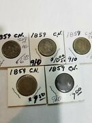 Indian Cent Indian Head Penny Lot Of 5 - 1859 Laurel Wreath No Shield