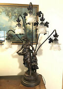 Art Nouveau Spelter French Figural Newel Post Statue Lamp Flower Shades Tall 35andrdquo