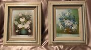 2 Vintage Oil Paintings On Canvas Daisy Flowers Signed Hill And Roses Signed Rich