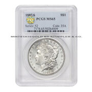 1887/6 1 Morgan Pcgs Ms65 Overdate Gem Graded Silver Dollar Pq Approved Coin