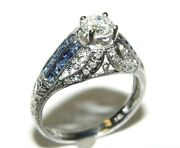 Natural 0.57ct Diamond And Blue Sapphire Filigree Engagement Ring 18k S-7