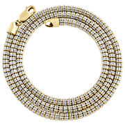 10k Yellow Gold Two Tone 4mm Diamond Cut Ice Chain Bead Necklace 20-30 Inches
