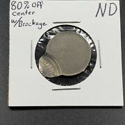No Date Nd Jefferson Nickel Off Center Error Coin Uncirculated With Brockadge