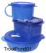 Tupperware Crystalwave 3 Piece Set Microwave Bowl And Mug In Blue New On The Go