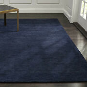 Area Rug 8and039 X 10and039 Baxter Indigo Blue Hand Tufted Crate And Barrel Woolen Carpet