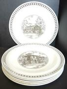 Seven Brown Transfer Wedgwood Plates Westminster School Simsbury Connecticut
