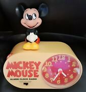 Vintage Mickey Mouse Alarm Clock Radio Complete W/box And Owners Book Melamine