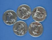 Five - 1 Oz .9999 Pure Silver 2011 Coins - Wolf - Wildlife Series