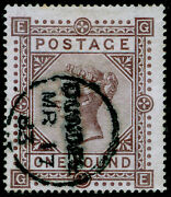 Sg129 Scarce Andpound1 Brown-lilac Fine Used Cds. Cat Andpound4500. Wmk Maltese Cross. Ge