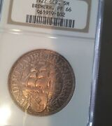 Rare 1927 Germany Large Silver 5 Marks-bremerhaven-ngc Pf 66 Superb Toning