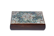 Egyptian Mother Of Pearl Paua Flower Wooden Inlaid Jewelry Box 10.5x6.5 1094