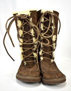Tall Ugg Whitley Brown Moccasin Boots Sheepskin Suede Leather Lace Size 7