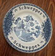 Willow Enoch Wedgwood Tunstall Schweppes 1970andrsquos Blue Bar Tip Dishes 4 3/4andrdquo