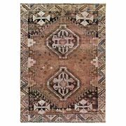 4and039x5and0396 Old Farsian Qashqairaz Tan Color Clean Worn Wool Hand Knotted Rug R57896