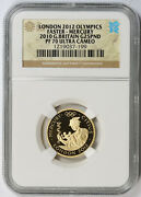 London Olympics Faster - Mercury 2010 Great Britain Gold 25 Pounds Pf 70 Uc Ngc