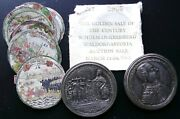1732 German Silver Box Taler Medal With Hand Painted Prints And Maps King Wihelm I