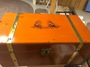 Vintage Pine Wood Toy Chest Box Brass Hardware Sailing Ships