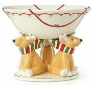 New Lenox Festive Reindeer Centerpiece Holiday Footed Bowl Nib - Msrp 300