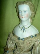 Rare Antique 16 Parian Dresden Lady Doll, Molded Blouse, Ascot, Snood Excellent