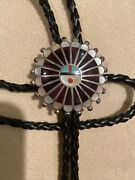 Large Vintage Zuni Indian Sun Bolo Tie Turquoise Shell Jet Amber Silver Fine Vtg