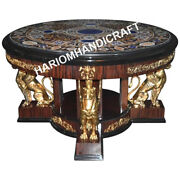 48 Round Marble Dining Table Top Precious Mosaic Inlaid Home Decors E6001