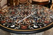 36 Round Marble Dining Table Top Collectible Marquetry Inlay Home Decor E6341